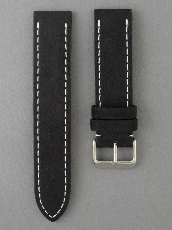 BC3-1 麂皮風格平身牛皮錶帶 - 黑色搭白色縫線
