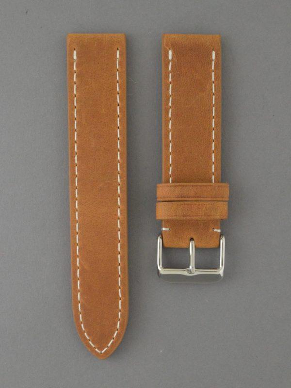 BC3-1 麂皮風格平身牛皮錶帶 - 棕色搭白色縫線