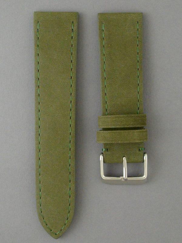 BC3-1 麂皮風格平身牛皮錶帶 - 軍綠色