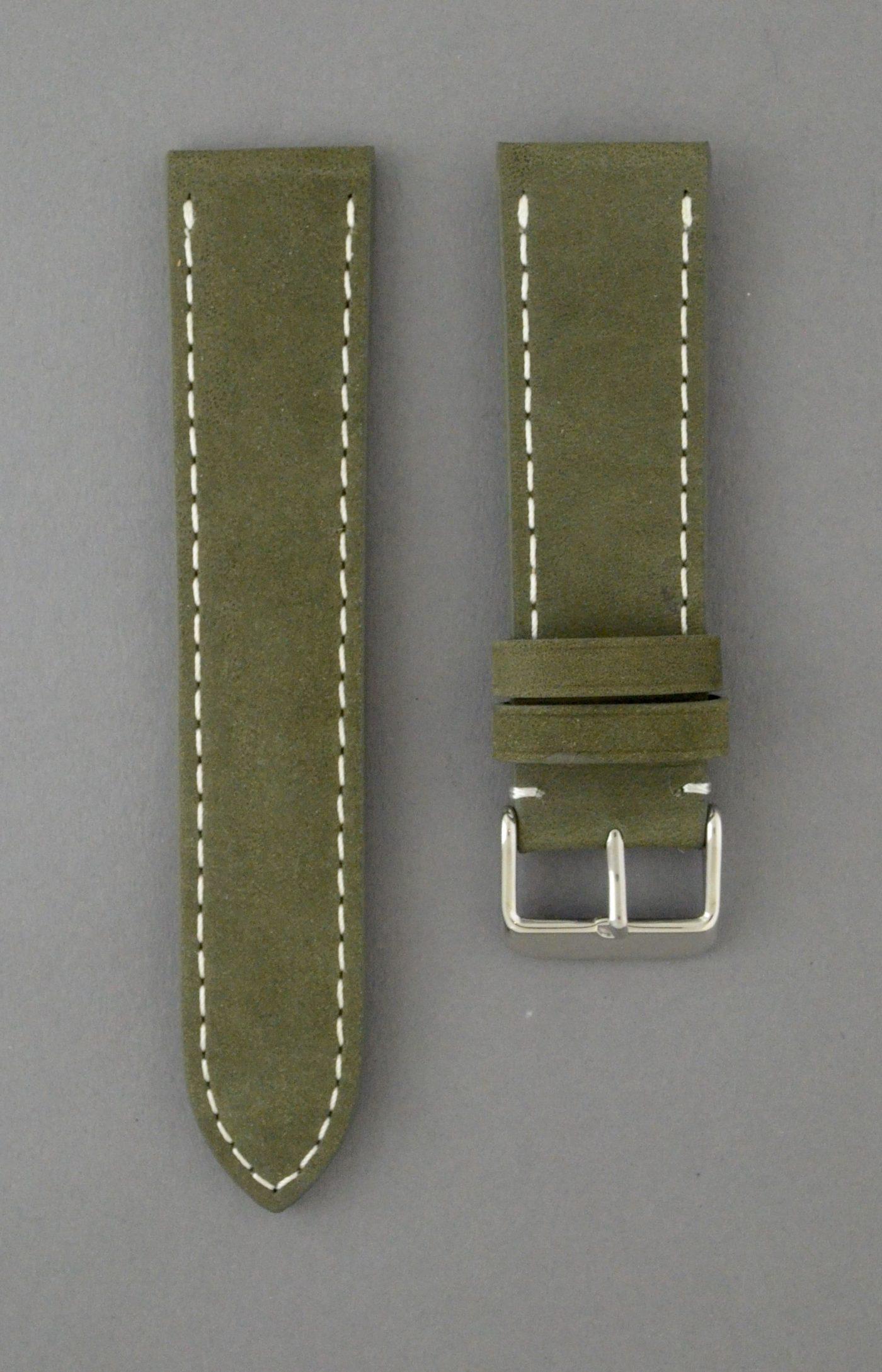 BC3-1 麂皮風格平身牛皮錶帶 - 軍綠色搭白色縫線