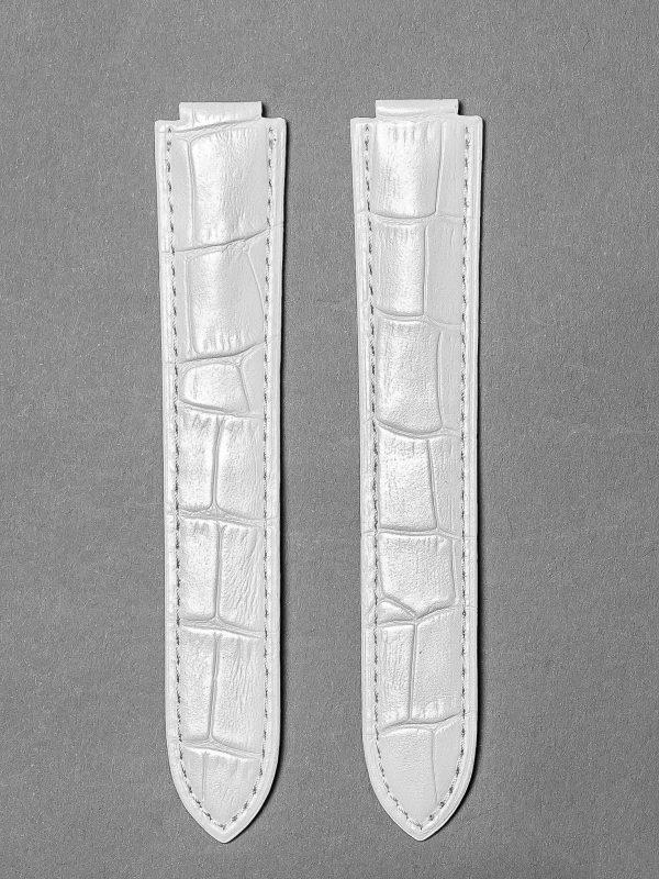CBB 壓鱷魚紋牛皮錶帶 - 珠光白色(僅適用 Cartier 卡地亞藍氣球摺疊扣系列錶款)