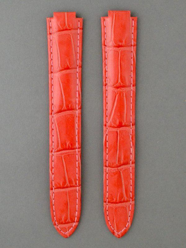 CBB 壓鱷魚紋牛皮錶帶 - 亮桃紅色(僅適用 Cartier 卡地亞藍氣球摺疊扣系列錶款)