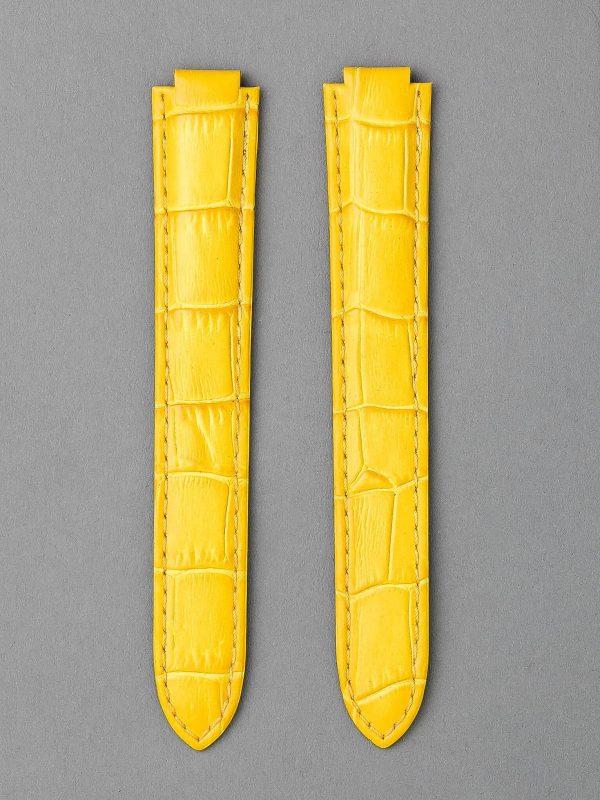 CBB 壓鱷魚紋牛皮錶帶 - 黃色(僅適用 Cartier 卡地亞藍氣球摺疊扣系列錶款)
