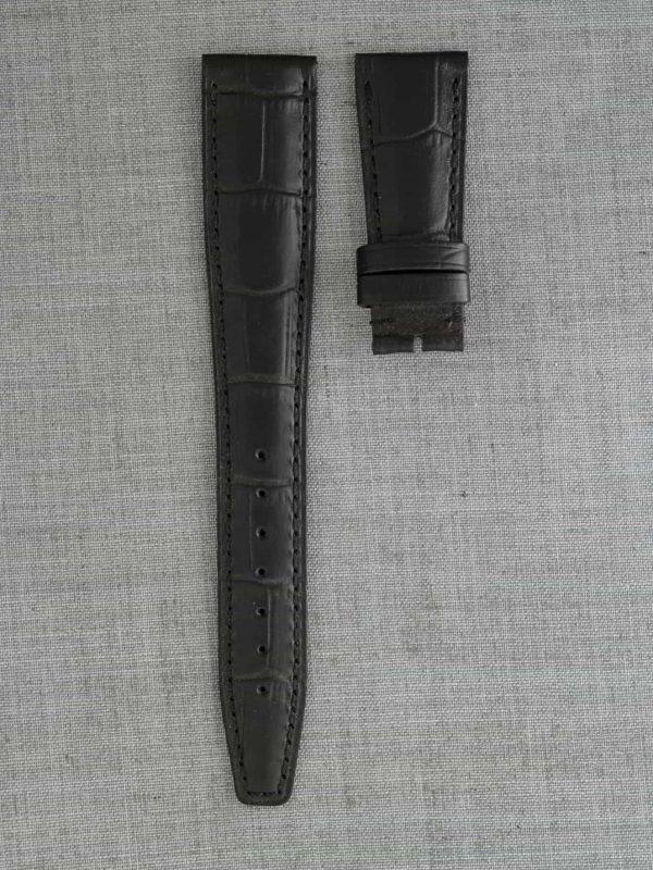 IWPO 壓鱷魚紋牛皮錶帶 - 黑色(IWC 摺疊扣專用)