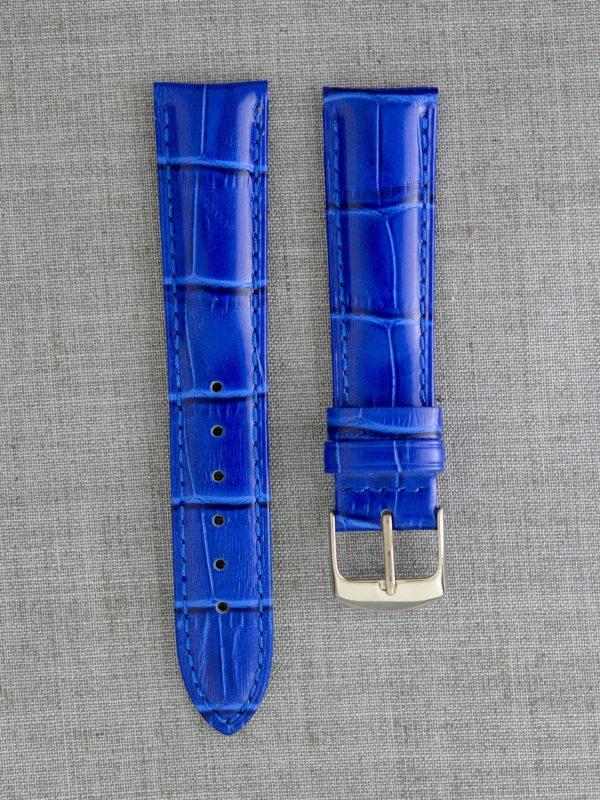 KEGA 女款短版壓鱷魚紋牛皮錶帶 - 珠光藍色