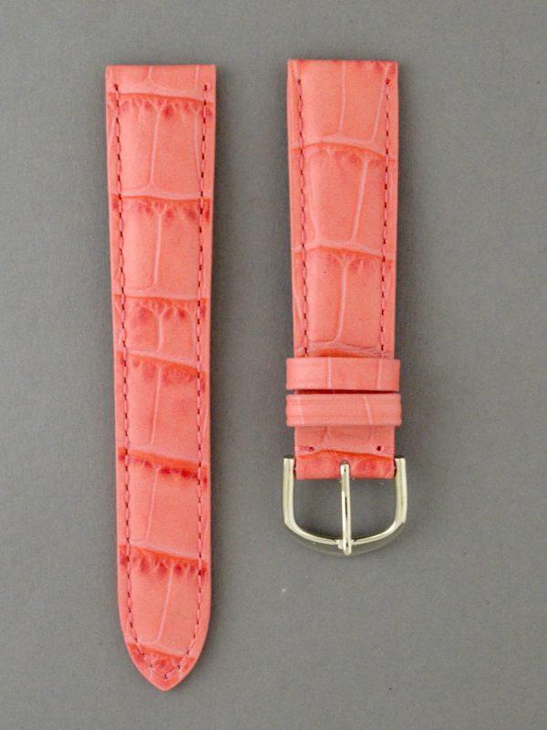KEGA 女款短版壓鱷魚紋牛皮錶帶 - 桃紅色