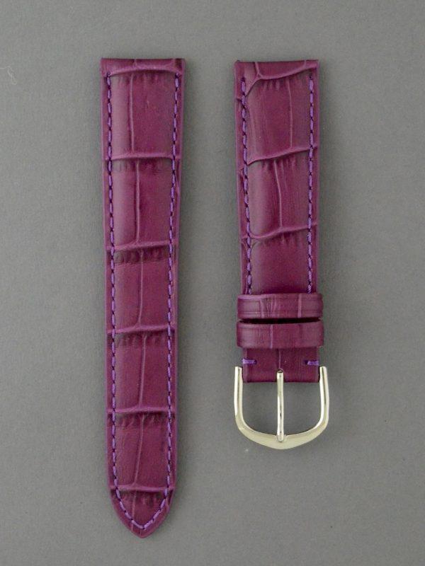 KEGA 女款短版壓鱷魚紋牛皮錶帶 - 紫色