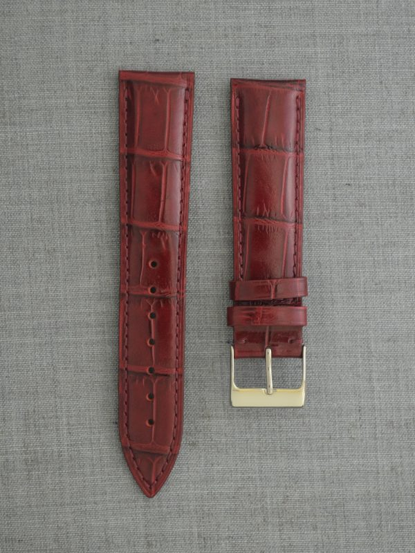 KESA 防潑水壓鱷魚紋牛皮錶帶 - 亮酒紅