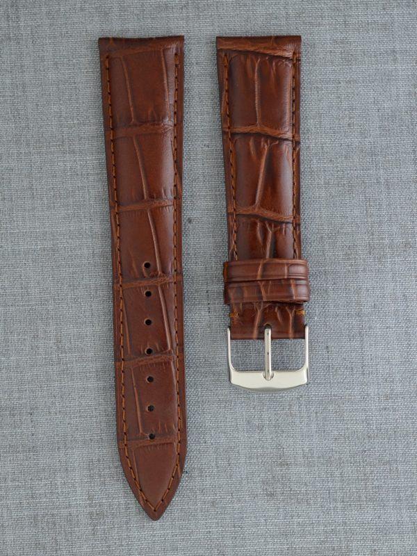 KESA 防潑水壓鱷魚紋牛皮錶帶 - 中啡