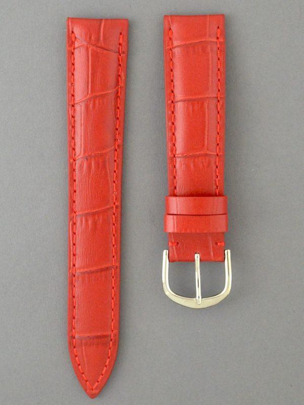 KESA 防潑水壓鱷魚紋牛皮錶帶 - 紅色