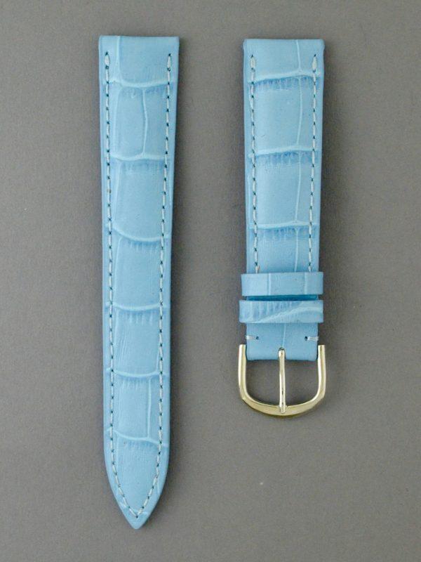 KESA 防潑水壓鱷魚紋牛皮錶帶 - 天空藍色