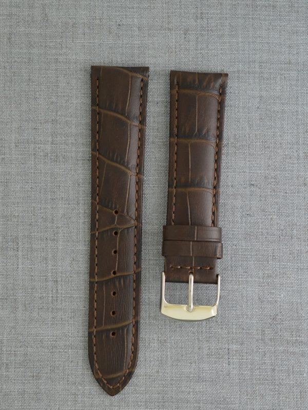 KFA 防潑水壓鱷魚紋牛皮錶帶 - 巧克力色