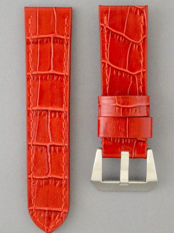 OPBC 壓鱷魚紋平身牛皮錶帶 - 亮紅色(適用 Panerai 沛納海錶款)
