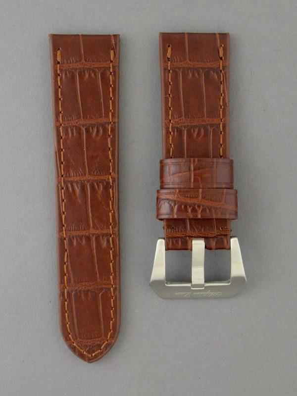 OPBC 壓鱷魚紋平身牛皮錶帶 - 亮咖啡(適用 Panerai 沛納海錶款)