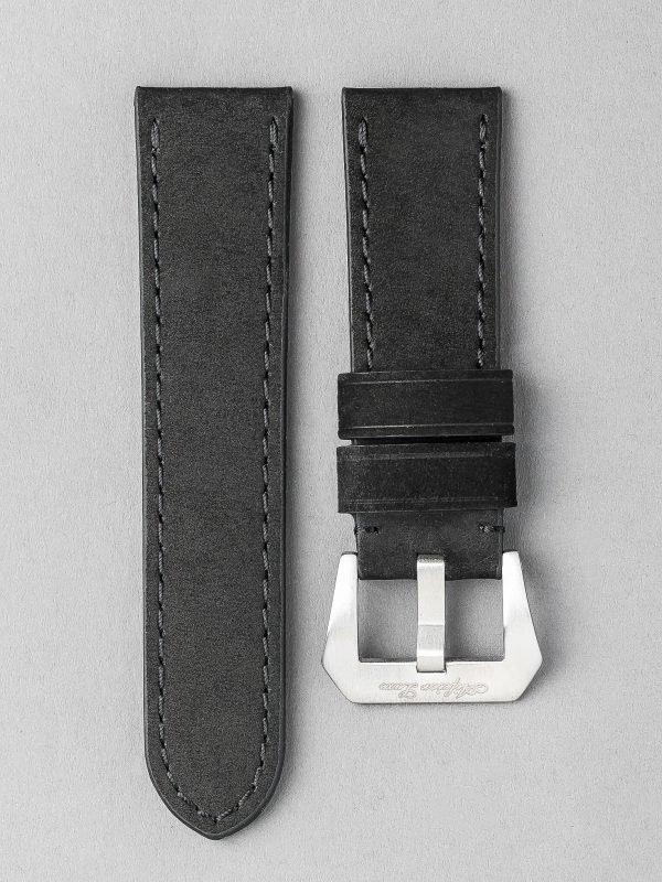 OPBC 麂皮風格平身牛皮錶帶 - 黑色(適用 Panerai 沛納海錶款)