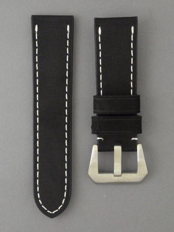 OPBC 麂皮風格牛皮錶帶 - 黑色搭白色縫線(適用 Panerai 沛納海錶款)