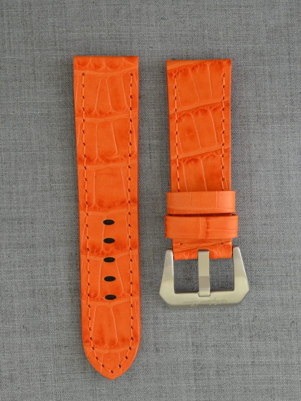 OPBC 壓鱷魚紋平身牛皮錶帶 - 橘色(適用 Panerai 沛納海錶款)