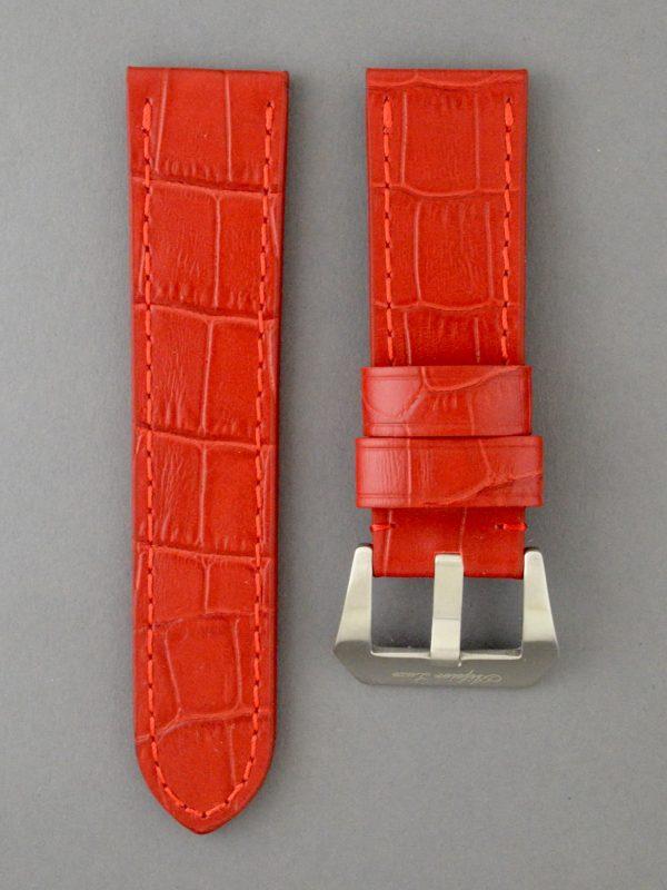 OPBC 壓鱷魚紋平身牛皮錶帶 - 紅色(適用 Panerai 沛納海錶款)