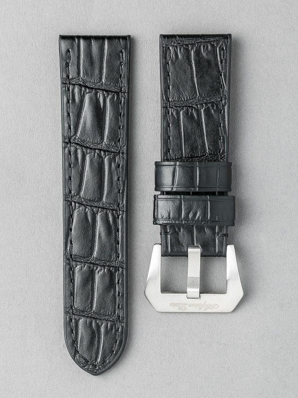 OPBC 壓鱷魚紋平身牛皮錶帶 - 黑色(適用 Panerai 沛納海錶款)