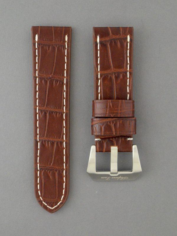 OPBC 壓鱷魚紋平身牛皮錶帶 - 咖啡色搭白色縫線(適用 Panerai 沛納海錶款)