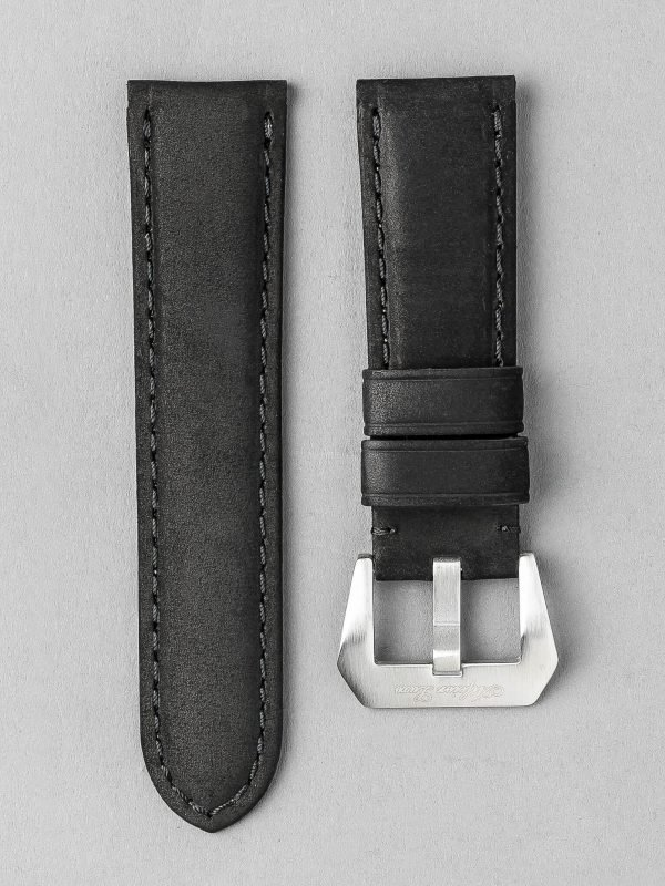 OPKF 麂皮風格立體帶身牛皮錶帶 - 黑色(適用 Panerai 沛納海錶款)