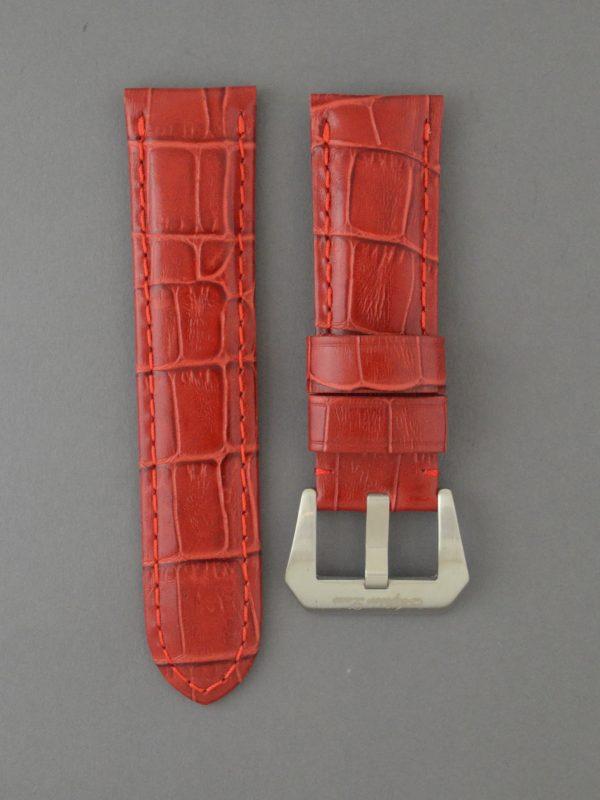 OPKF 壓鱷魚紋立體帶身牛皮錶帶 - 紅色(適用 Panerai 沛納海錶款)
