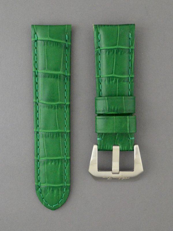OPKF 壓鱷魚紋立體帶身牛皮錶帶 - 綠色(適用 Panerai 沛納海錶款)