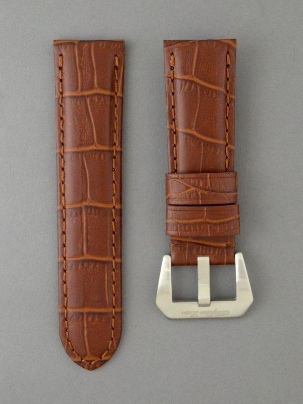 OPKF 壓鱷魚紋立體帶身牛皮錶帶 - 中啡色(適用 Panerai 沛納海錶款)