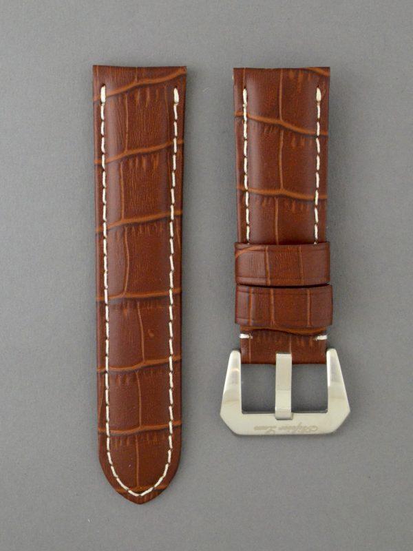 OPKF 壓鱷魚紋立體帶身牛皮錶帶 - 中啡色搭白色縫線(適用 Panerai 沛納海錶款)