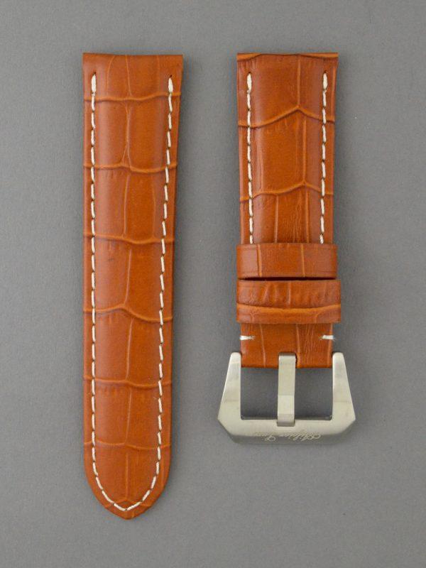 OPKF 壓鱷魚紋立體帶身牛皮錶帶 - 淺啡搭白色縫線(適用 Panerai 沛納海錶款)