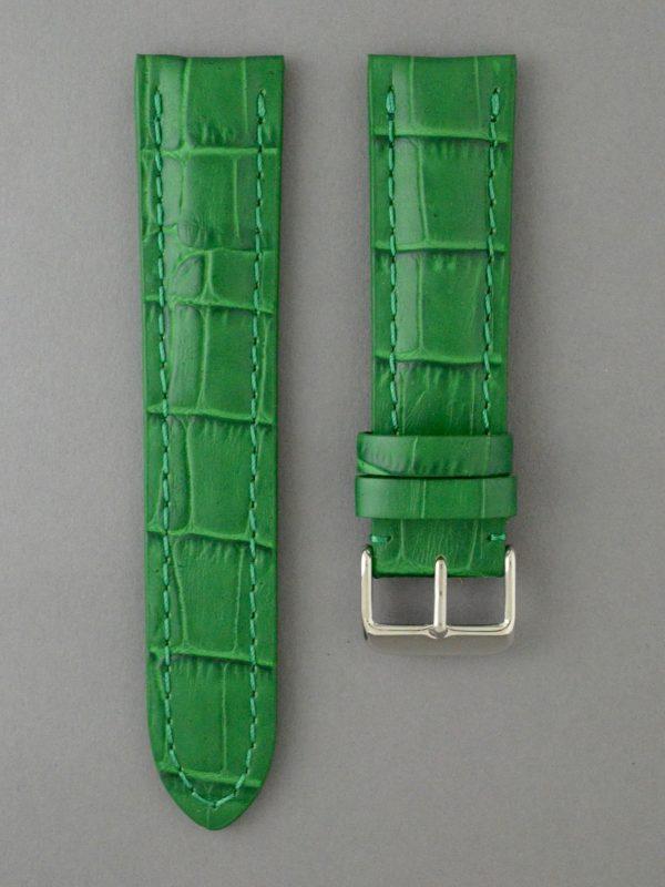 PTB 壓鱷魚紋牛皮錶帶 - 綠色(僅適用於 Breitling 百年靈方扣錶款)