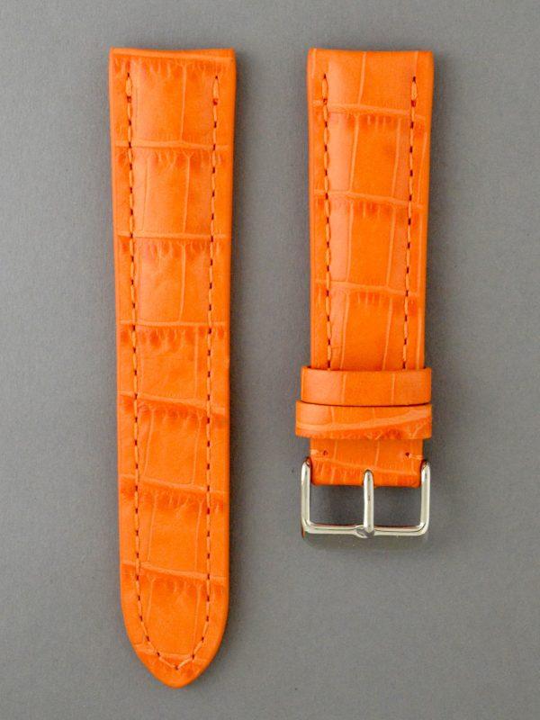 PTB 壓鱷魚紋牛皮錶帶 - 橘色(僅適用於 Breitling 百年靈方扣錶款)