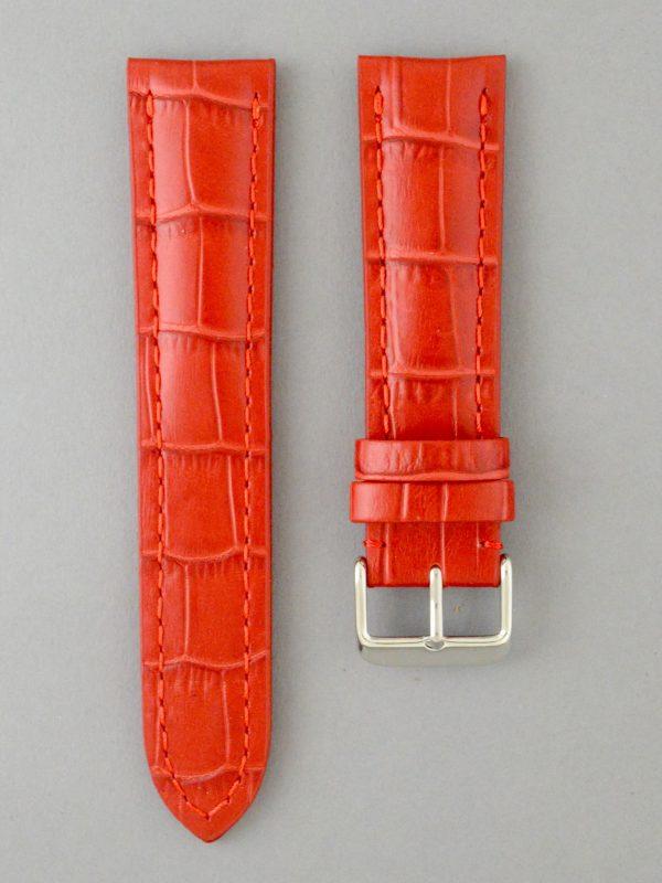 PTB 壓鱷魚紋牛皮錶帶 - 紅色(僅適用於 Breitling 百年靈方扣錶款)