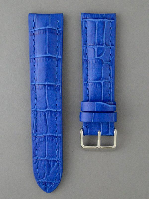PTB 壓鱷魚紋牛皮錶帶 - 藍色(僅適用於 Breitling 百年靈方扣錶款)