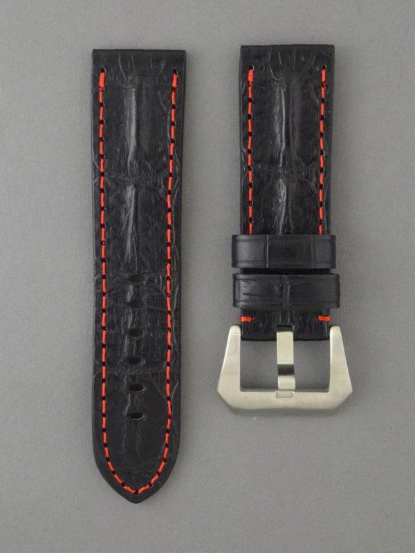 ROP 壓鱷魚背脊骨紋牛皮錶帶 - 黑色縫紅線
