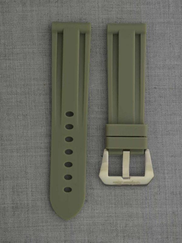 SOP-A 方扣高純度矽膠錶帶 - 軍綠色(適用 Panerai 沛納海 24mm 方扣錶款)