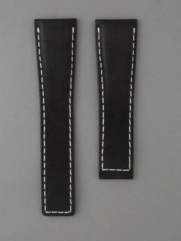 TH 麂皮風格牛皮錶帶 - 黑色搭白色縫線(適用 TAG Heuer 泰格豪雅錶款)
