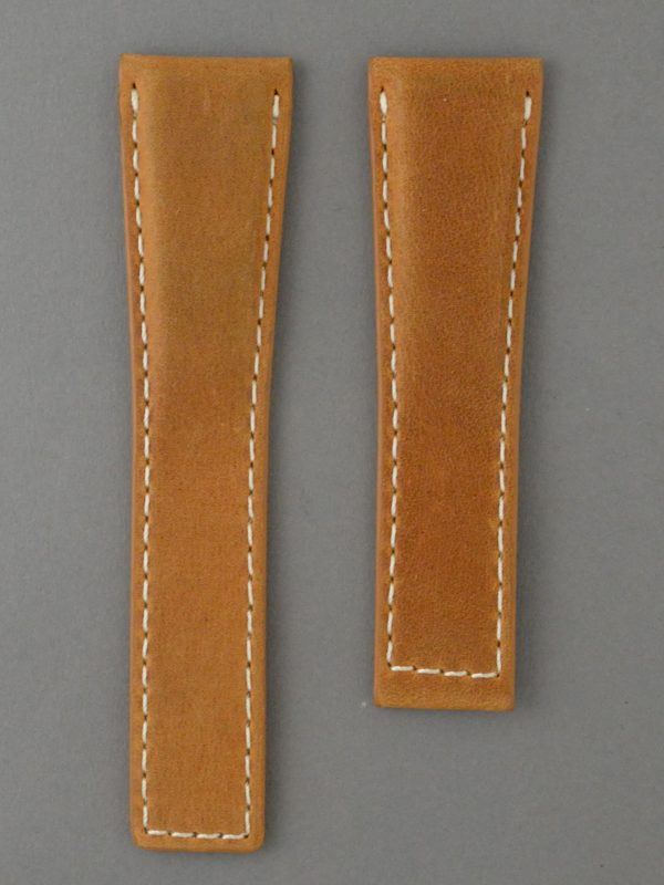 TH 麂皮風格牛皮錶帶 - 咖啡色搭白色縫線(適用 TAG Heuer 泰格豪雅錶款)