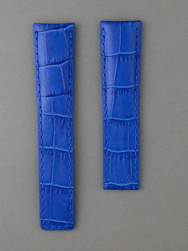 TH 壓鱷魚紋牛皮錶帶 - 寶藍色(適用 TAG Heuer 泰格豪雅錶款)